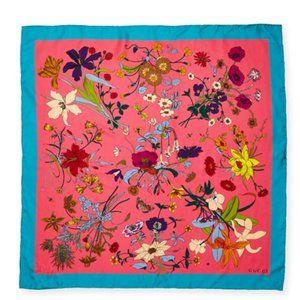 Gucci Flora Gothic Print Silk Scarf in Pink